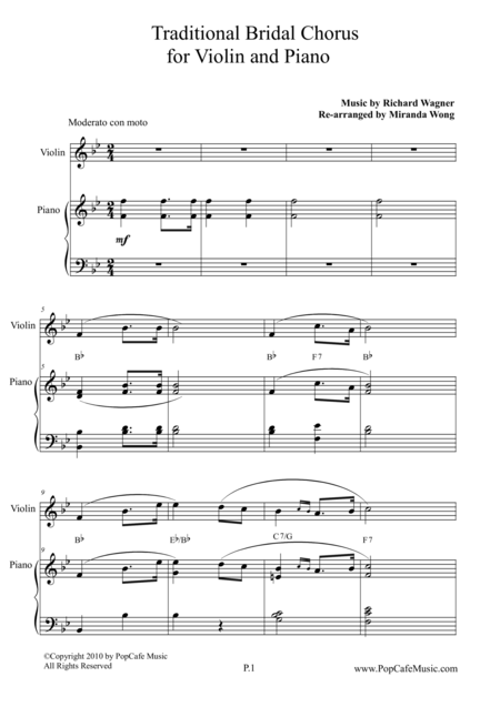 Traditional Bridal Chorus for Violin & Piano
