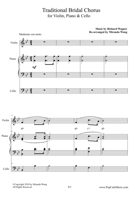 Traditional Bridal Chorus for Violin, Piano & Cello
