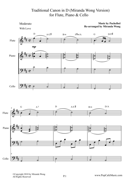 Traditional Canon in D for Flute, Piano & Cello