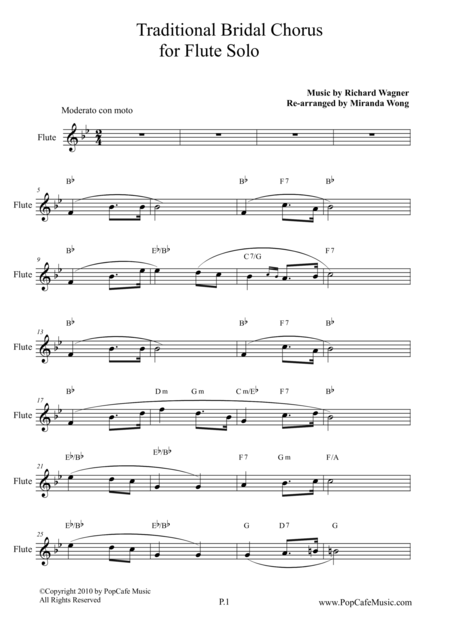 Traditional Bridal Chorus for Flute Solo ( Concert Bb Key)