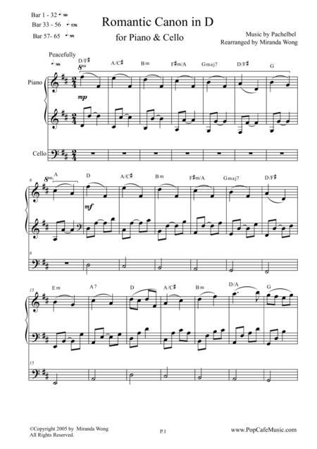 Romantic Canon in D for Piano & Cello