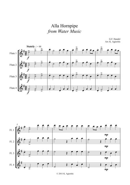 Alla Hornpipe from Handel's Water Music - for Flute Quartet