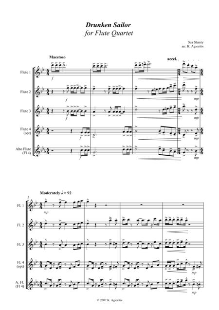 Drunken Sailor - for Flute Quartet