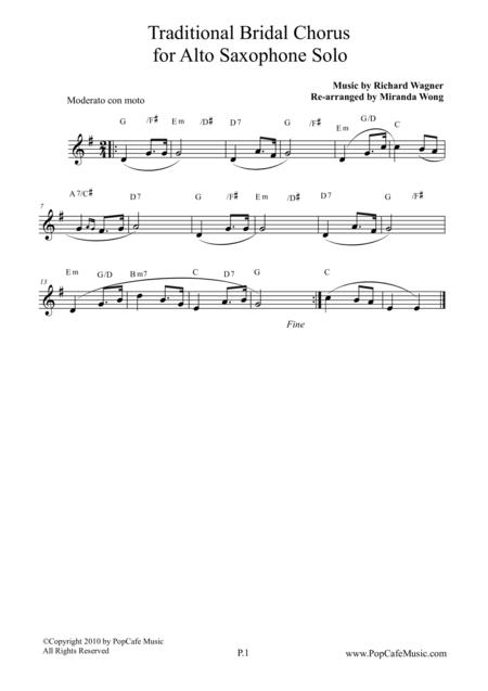 Traditional Bridal Chorus - Alto Saxophone Solo