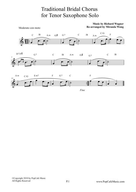 Traditional Bridal Chorus - Tenor or Soprano Saxophone