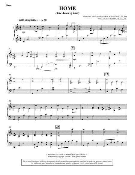 Home (The Arms of God) - Piano