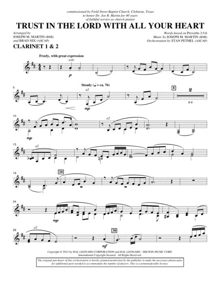 Trust In The Lord With All Your Heart - Bb Clarinet 1,2