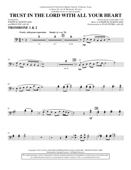 Trust In The Lord With All Your Heart - Trombone 1 & 2