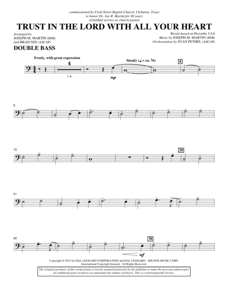 Trust In The Lord With All Your Heart - Double Bass