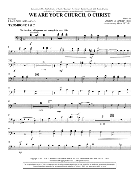 We Are Your Church, O Christ - Trombone 1 & 2