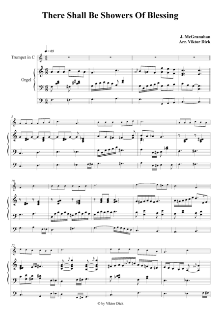 There Shall Be Showers Of Blessing (Trumpet in C & Organ)