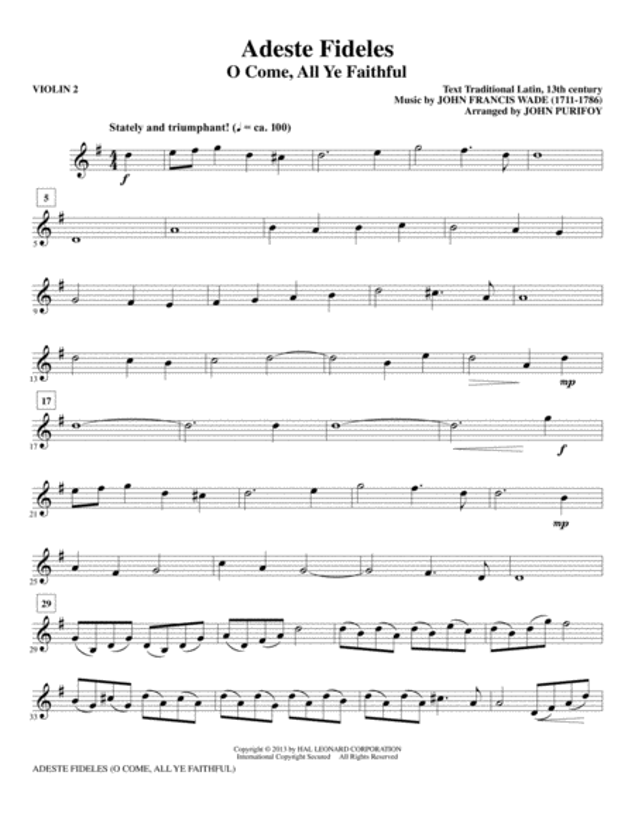 Adeste Fideles - Violin 2