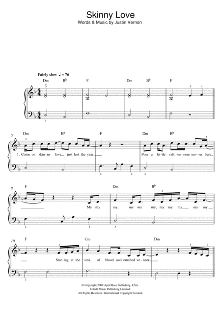Piano skinny love piano tabs : Skinny Love Piano Sheet Music Easy Version - skinny love birdy ...
