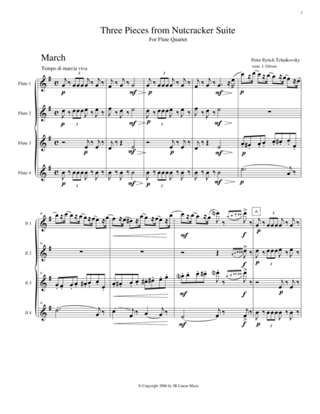 3 Pieces from The Nutcracker for Flute Quartet