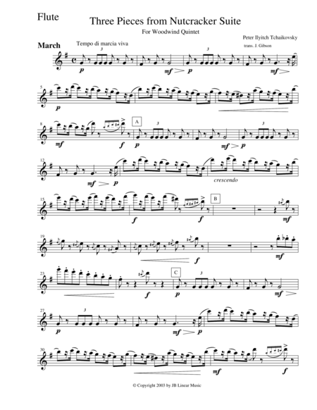 3 Pieces from The Nutcracker for Woodwind Quintet