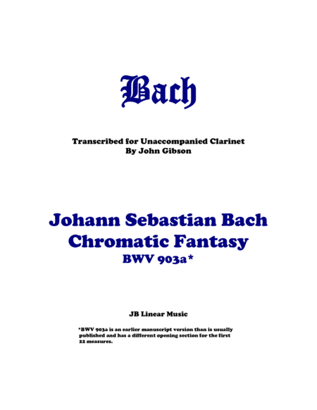 J. S. Bach - Chromatic Fantasy for Unaccompanied Clarinet