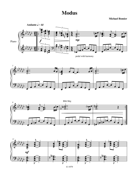 Modus A modern jazz piano solo from Modern Solos