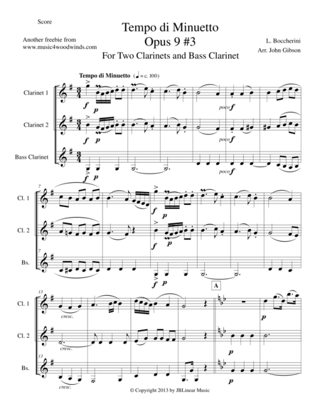 Minuet for Clarinet Trio