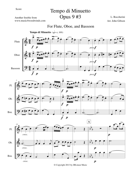 Minuet for Flute, Oboe and Bassoon Trio