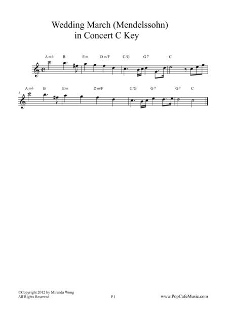Wedding March - Mendelssohn in Concert Key (Lead)
