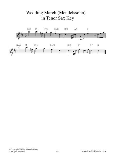 Wedding March - Mendelssohn for Tenor / Soprano Sax