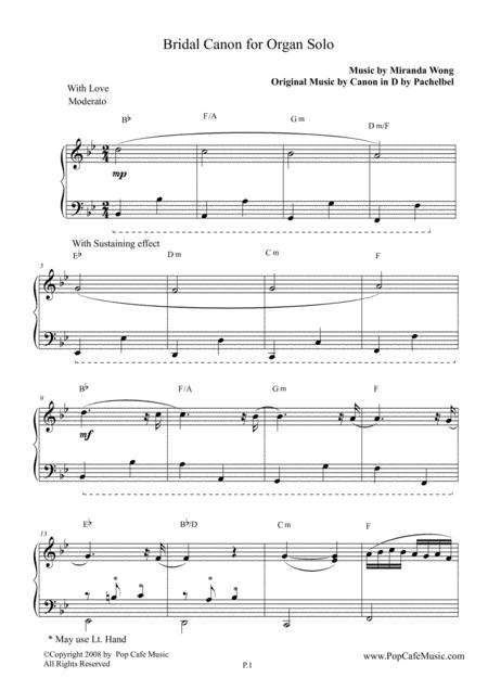 Bridal Canon in Bb - Organ Solo (Miranda Wong)