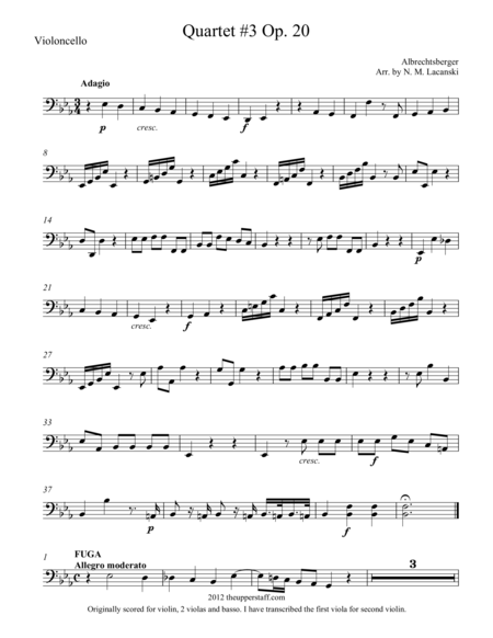 Quartet #3 Op. 20 in E Flat Major