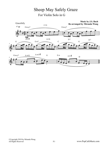 Sheep May Safely Graze in G - Lead Sheet for Violin Solo