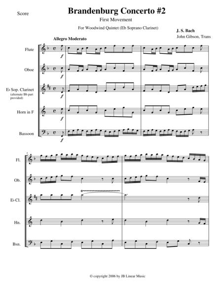Bach Brandenburg Concerto #2 - 1st Movement for Woodwind Quintet