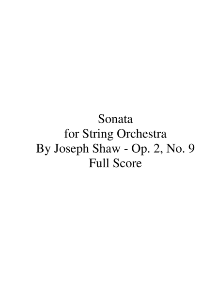 Sonata for String Orchestra