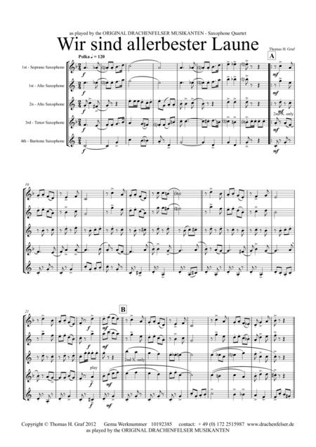 Allerbester Laune - German Polka - Saxophone Quartet