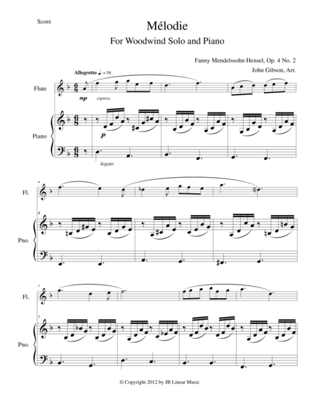 Melodie for flute, oboe, clarinet, or bassoon and piano
