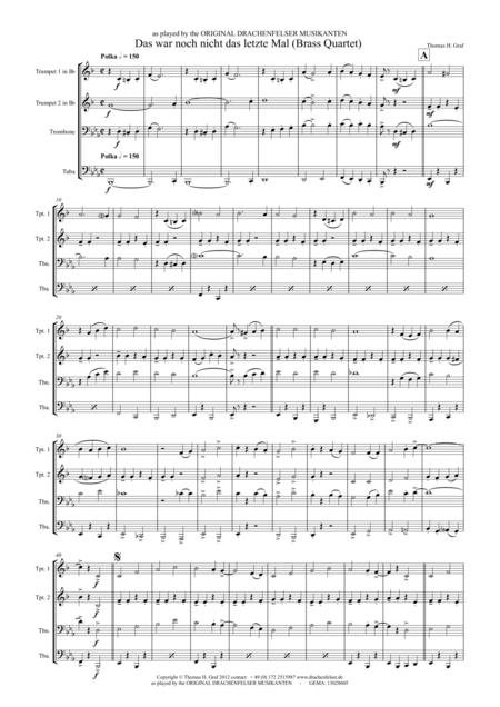 Das war noch nicht das letzte Mal - German Polka - Oktoberfest - Brass Quartet