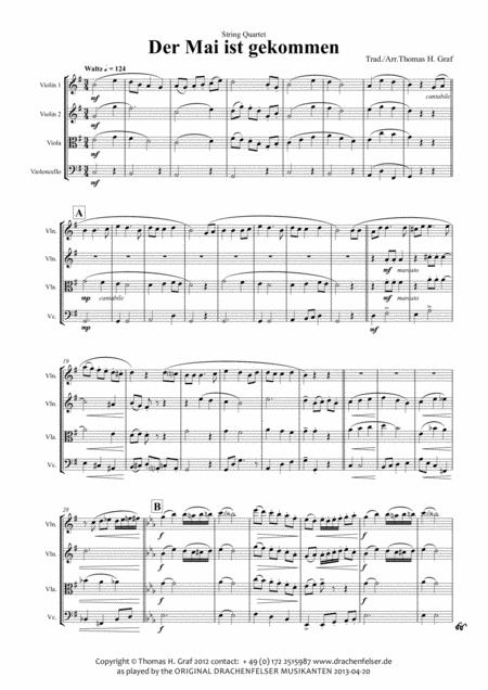 Der Mai ist gekommen - German Folk Song - String Quartet