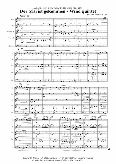 Der Mai ist gekommen - German Folk Song - Wind Quintet