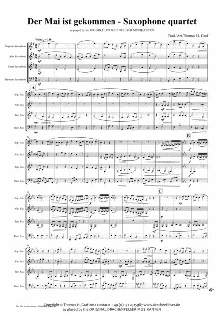 Der Mai ist gekommen - German Folk Song - Saxophone Quartet