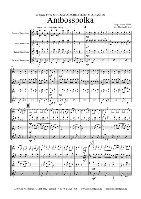 Amboss-Polka - German Polka - Oktoberfest - Saxophone Quartet
