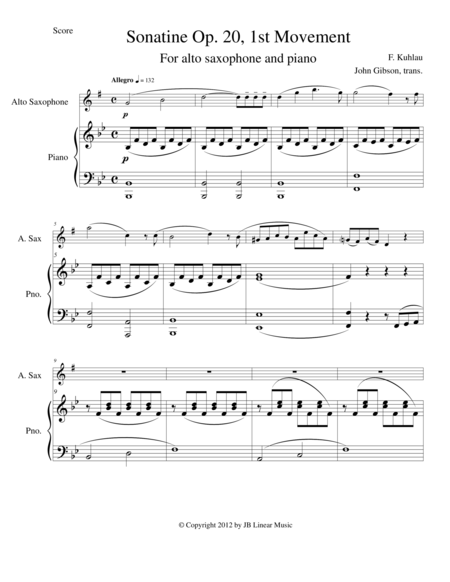 Sonatine by Kuhlau for Alto Sax and Piano