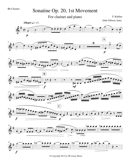 Sonatine by Kuhlau for Clarinet and Piano