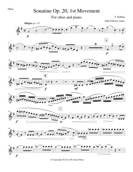 Sonatine by Kuhlau for Oboe and Piano