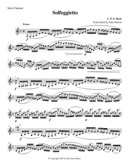 Solfeggietto by CPE Bach for solo (unaccompanied) Clarinet