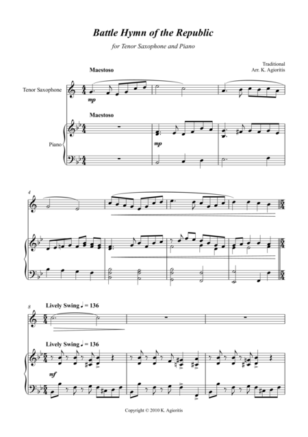 Battle Hymn of the Republic - a Jazz Arrangement - for Tenor Saxophone and Piano