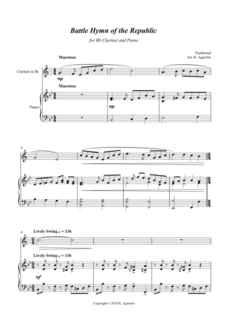 Battle Hymn of the Republic - a Jazz Arrangement - for Bb Clarinet and Piano