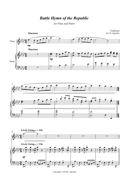 Battle Hymn of the Republic - a Jazz Arrangement - for Flute and Piano