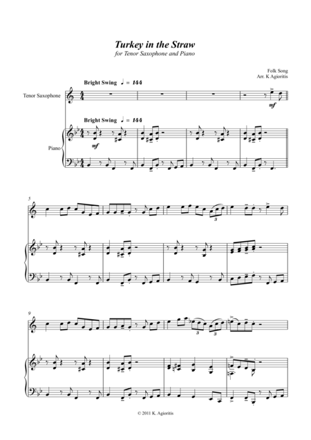 Turkey in the Straw - a Jazz Arrangement - for Tenor Saxophone and Piano