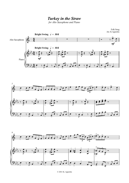 Turkey in the Straw - a Jazz Arrangement - for Alto Saxophone and Piano