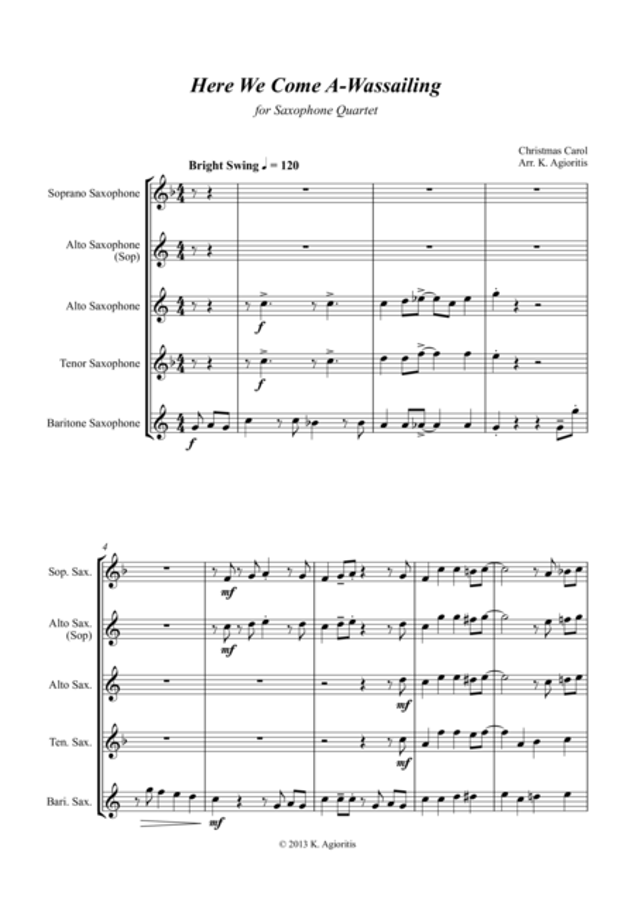 Here We Come A-Wassailing - Jazz Carol for Saxophone Quartet