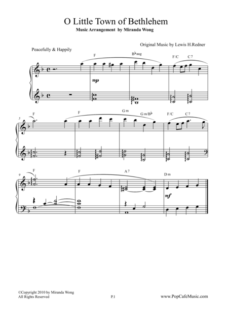 O Little Town of Bethlehem - Easy Piano (Beautiful Version)