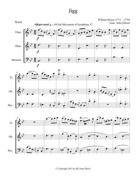 Jigg by William Boyce for mixed woodwind trio