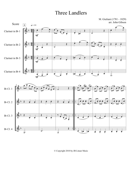 Three Landlers (Waltzes) for Clarinet Quartet